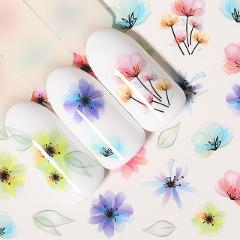 1 Sheet Nail Water Decals Transfer Stickers Flower Butterfly Rose Mixed Patterns Colorful Nail Art DIY Decorations Tools