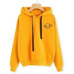 MJARTORIA Women Sweatshirt Hoodies Casual Planet Print Solid Loose Drawstring Sweatshirt Fashion Long Sleeve Hooded Female Tops