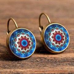 Crazy Feng Boho Flower Drop Earrings For Women Vintage Jewelry Geometric Pattern Round Earings Bijoux boucles d'oreilles bohemia