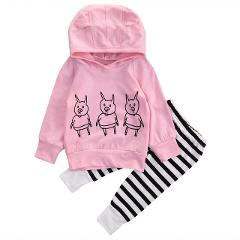 0-24M Newborn Baby Kids Girls Clothes Floral Hooded Tops+Long Pants Outfits Set Printed Lovely High Quality Hot Selling Sets