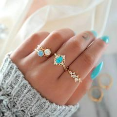 Hot Sale Women Ocean Star Moon Joint 13 Piece Set Ring Jewelry Retro Opal Crown Zircon Rings Fashion Female Accessories