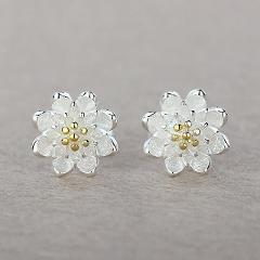 Beautiful Flower Top Selling Fashion Stud Earrings Accessories 925 Sterling Silver Jewelery Gift For Women Girls