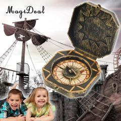 MagiDeal New Hot Sale Pirate Captain Costume Toy Nautical Compass Halloween Party Unique ABS Design Portable Kids Gift Bronze