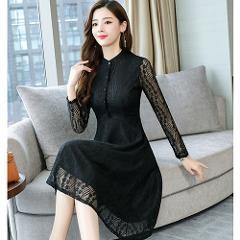 Autumn Winter Plus Size Vintage Lace Pink Midi Dresses 2018 Women Elegant Bodycon Black Dress Party Long Sleeve Runway Vestidos