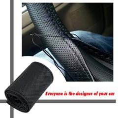 DIY Car Steering Wheel Cover Fiber Leather with Needle Braid on Steering Wheel SkidProof 36-38cm Car Styling Interior accessorie
