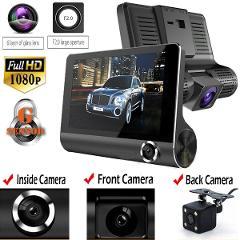"4"" HD 1080P Dual Lens Rearview Car DVR Camera Video Recorder Dash Cam G-Sensor"