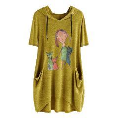M-XXXXXL lady T-shirt fashion long hooded trend print pocket short sleeve irregular large size shirt t-shirt#YL-5