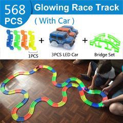 Railway Magical Glowing Flexible Track Car Toys Children Racing Bend Rail Track Led Electronic Flash Light Car DIY Toy Kids Gift