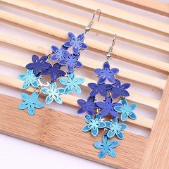 Graceful Simple New Arrival  Fashion Violet Blue color Bohemian Jewelry Drop Flower Earring Allergy Free 1Pair Hot Sale