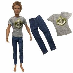 NK One Pcs Doll Casual Wear T-Shirt Trousers Summer Outfit Short Pants Ken Clothes Mix Style For Barbie Ken Doll Accessories JJ