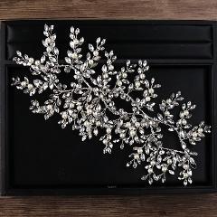 Fashion Silver Tiara Headbands Pearl Crystal Hair Ornaments Bridal Princess Hairbands For Women Girl Wedding Hair Accessories