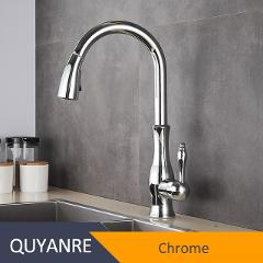 Quyanre Black Kitchen Faucets Pull Out Kitchen Sink Mixer Tap Single Lever Water Mixer Tap Crane For Kitchen 360 Rotation Mixer