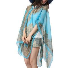 Summer Woman Plus Size Thin Long Sleeve Fabala Chiffon Shawl Sunscreen Cover Ups Scarf Shirts Loose Blouses Sun Protection Shawl