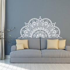 Wall Decal Mandala, Half Mandala, Vinyl Wall Sticker, Yoga Gift Ideas, Master Bedroom, Headboard Art Pattern Decor MT44
