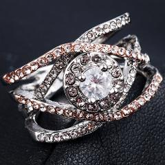 2019 New FashionWomen Girl Elegant Party Wedding Two Color Rhinestone Crystal Rings Bride Love Ring Jewelry Gift Size 6-10