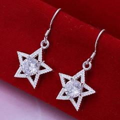New Hot Design Elegant Fashion Brand Jewelry Fashion Jewelry Wholesale Silver Plated Star Earrings for Women
