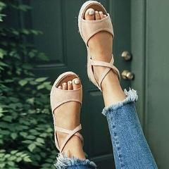 2019 Summer Women Sandals Open Toe Gladiator Sandals Straw Women Cross strap Women Platform Sandals