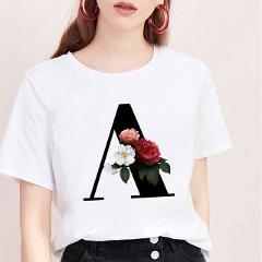Dropshipping T Shirt Women 26 English Alphabet With Flowers Letter Rose Print Tshirt O-neck Summer Fashion Casual Punk Tees Tops