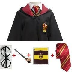 Potter Costume Cosplay Gryffindor Ravenclaw Hufflepuff Slytherin Robe Cloak Tie Scarf Wand Halloween Cosplay