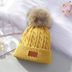 Baby Winter Hat Thick Knitted Warm Beanie Cute Pompom Hats for Boys Girls Kids Solid Color Cap