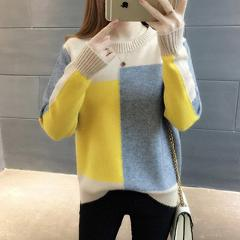 Pullovers Women Autumn Patch Designs Panelled Winter Thin Loose Candy Color Womens Sweaters Knitting All-match Tops Ulzzang New