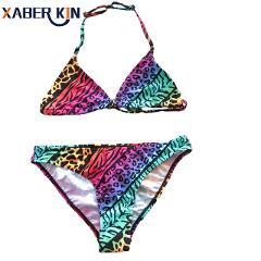 9~14Y Girls swimwear Lepoard design Girls swimsuit Two piece Children swimwear Kids Bikini sets Biquini Infantil-SW622