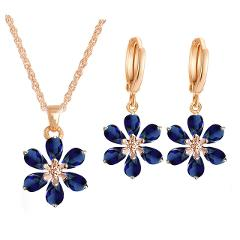 QCOOLJLY Hot Sale 1Set Gold Color Pretty Flower cubic zirconia Earring and Pendant Necklace Lady Jewelry Set For Party