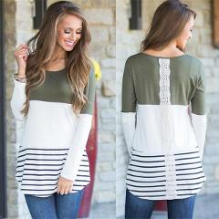 Womens Tops and Blouses 2018 Fashion Back Lace Blouse Striped Long Sleeve Blouse Tunic Shirt Jumper Top Blusas Femininas
