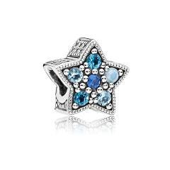 925 silver Blue style star Christmas snowman snowflake bead Fit  Original Pandora Bead Bracelet For Women Charm DIY Jewelry P006