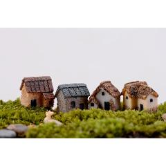 WINOMO 4PCS Miniature Gardening Landscape Micro Village Stone Houses Thumbnail House Thatched Huts For Garden Decor Miniaturas