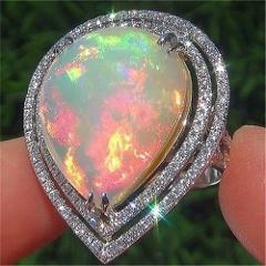 White MoonStone Woman Man Engagement 925 Silver Rings Wedding Gifts Fashion Size 6-10 1pc Fire Opal Accessories