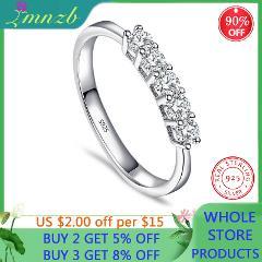 LMNZB Solid 925 Silver Five 3mm Sona Diamond Single Row Simple Bright Women Ring Romantic Starlight Finger Fine Jewelry LR392