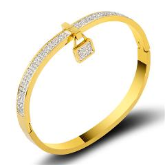 Full Cubic Zirconia Crystals Lock Bracelets & Bangles For Women Lover Classic Gold Bangles Fashion Jewelry Gift Drop Shiping