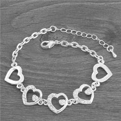 MISANANRYNE Jewelry New Romantic Heart CZ Bracelet Femme Silver/Gold Color Women Wedding Crystal Bracelets Wholesale