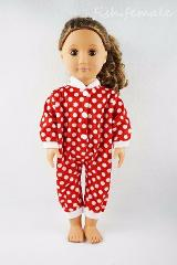 Fit For 18'' American Girl Doll Clothes Red & White Dots One-piece Garment Gift