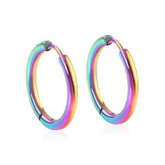 LUXUSTEEL Hoop Earrings Women Gold/Silver/Rose Gold/Black Color Round Circle Earring Ear Ring Clip Earrings aretes Mujer Party