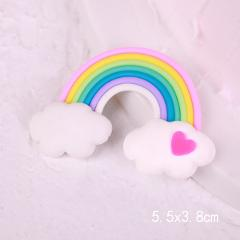 Colorful Fimo 3D Rainbow Clouds Cake Topper for Wedding Birthday Party Cake Top Flags Baking Decoration Supplies TR001