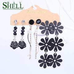 2020 Long Earrings Set Fashion Jewelry Red Black Earrings Women Bohemian Drop/Small Earrings gifts Cute Pendientes wholesale New