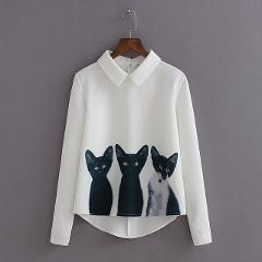 Fashion Cartoon Cat New Brand Women's Loose Chiffon Three Cats Tops Long Sleeve Casual Blouse Autumn Shirts High Quality