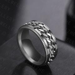 Punk 8mm Spinner Chain Men Rotatable Ring Black Blue Stainless Steel Rotatable Cool Jewelry Party Gift Anel Alliance