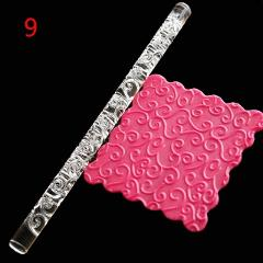 1PC Acrylic Rolling Pin Designed Fondant Cake Impression Rolling Pin Pastry Roller Embossing Baking Tools Kitchen Accessories