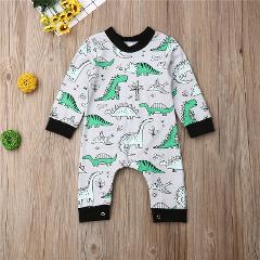 Dinosaur Print Baby Boys Romper 2019 Autumn Long Sleeve Animal Baby Rompers O-Neck Toddler Baby Jumpsuits Infant Newborn Clothes