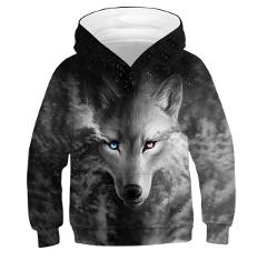 3D WOLF Boys Sweatshirt Hoodies Teens Spring Autumn Hooded Coat For Boys Kids Clothes Children Long Sleeve Pullover Tops