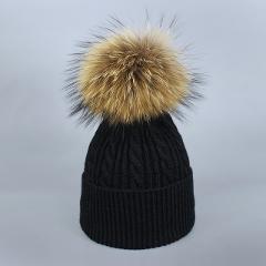 Sopamey Natural Mink PomPom Bonnet Women's Fur Pompons Hats Winter Ski Knitted Crocheted Bobble Hats Caps Balaclava Fleece Mask