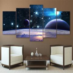 Canvas HD Printed Universe Galaxy 5 Panel Reflection Space Planet Modular Picture Home Decorate Poster Prints Wall Art Painting