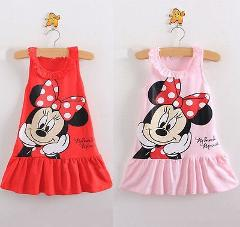Red/Pink Baby Girls Dress Kids Cartoon Tops Clothes Party Dresses Summer Cotton Children's Casual Clothing Princess Dresses