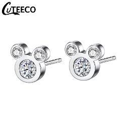 New Fashion Pan Silver Mickey Earrings Clear CZ Zircon Children Kids Jewelry Cartoon Mouse Animal Stud Earrings Gifts