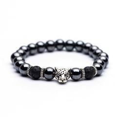 High quality Natural stone Men's bracelets Charm Lucky Tiger Leopard Hematite Golden&Silver Elastic Bracelets for women & men