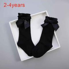 Kids girl cute socks Knee socks High Bow Knot Princess Socks Baby Socks Long Tube Booties Vertical Striped sokken meias 0-4Y