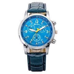 Mens Roman Numerals Blue Ray Glass Watches Men Luxury Leather Analog Quartz Business Wrist Watch Men's Clock Relogio